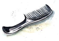 Schizzo del pettine nero del parrucchiere con una maniglia lunga comoda illustrazione vettoriale
