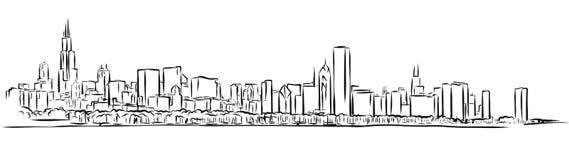 Schizzo del profilo dell'orizzonte di Chicago Fotografia Stock