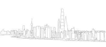 Schizzo del profilo di panorama di profilo di Shanghai Fotografia Stock