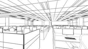 Schizzo del profilo di un'area interna dell'ufficio Immagini Stock