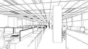 Schizzo del profilo di un'area interna dell'ufficio Fotografia Stock Libera da Diritti