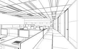 Schizzo del profilo di un'area interna dell'ufficio Immagini Stock Libere da Diritti