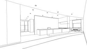 Schizzo del profilo di un'area reception interna Immagine Stock Libera da Diritti