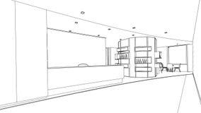 Schizzo del profilo di un'area reception interna Immagine Stock