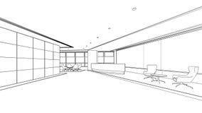 Schizzo del profilo di un'area reception interna Fotografia Stock