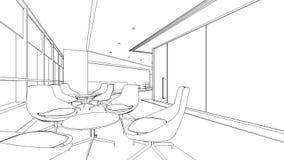 Schizzo del profilo di un'area reception interna Immagini Stock