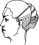 Schizzo del profilo di una giovane donna Immagini Stock