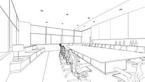 Schizzo del profilo di una sala riunioni interna Immagini Stock Libere da Diritti
