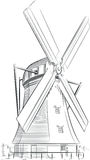 Schizzo del punto di riferimento olandese - mulino a vento Fotografie Stock