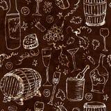 Schizzo del vino ed illustrazione dell'annata Fotografie Stock Libere da Diritti