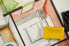 Schizzo dell'acquerello dell'acquerello con i blocchetti della pittura, mostranti il frammento parziale della camera da letto di  Fotografia Stock Libera da Diritti