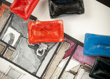 Schizzo dell'acquerello dell'acquerello con i blocchetti della pittura, mostranti il frammento parziale della camera da letto di  Immagini Stock