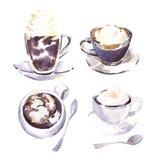 Schizzo dell'acquerello delle tazze di caffè Fotografia Stock Libera da Diritti