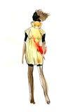 Schizzo dell'acquerello di una ragazza in un vestito ed in una borsa rossa Fotografia Stock Libera da Diritti