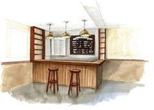 Schizzo dell'acquerello dell'interno in un caffè Immagine Stock Libera da Diritti