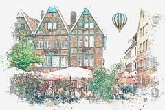 Schizzo dell'acquerello o illustrazione del caffè tedesco tradizionale della via e di architettura a Muenster in Germania illustrazione vettoriale