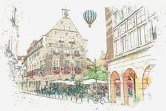 Schizzo dell'acquerello o illustrazione del caffè tedesco tradizionale della via e di architettura a Muenster in Germania royalty illustrazione gratis