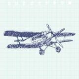 Schizzo dell'aeroplano Illustrazione disegnata a mano per la vostra progettazione Fotografia Stock Libera da Diritti
