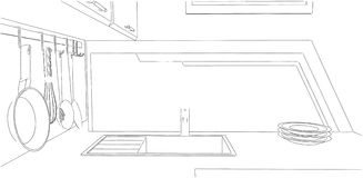Schizzo dell'angolo della cucina Immagini Stock