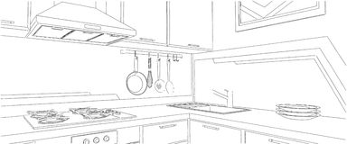 Schizzo dell'angolo della cucina con gli utensili della cucina Immagini Stock Libere da Diritti