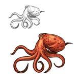 Schizzo dell'animale di mare del polipo del mollusco rosso dell'oceano royalty illustrazione gratis