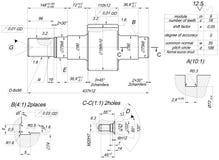 Schizzo dell'asse con la covata Disegno di ingegneria illustrazione vettoriale