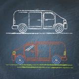 Schizzo dell'automobile del furgoncino sulla lavagna Fotografie Stock Libere da Diritti