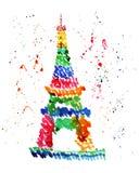 Schizzo dell'illustrazione del simbolo famoso della torre Eiffel di Parigi, in uno spruzzo dei fuochi d'artificio Immagine Stock