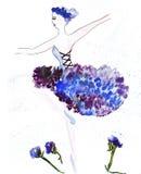 Schizzo dell'illustrazione della siluetta femminile in vestiti Fotografia Stock