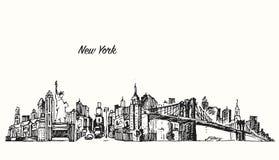 Schizzo dell'illustrazione di vettore dell'orizzonte di New York City Fotografia Stock