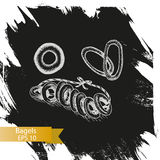 Schizzo dell'illustrazione di vettore - forno Bagel Casa della carta Immagini Stock Libere da Diritti