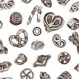 Schizzo dell'illustrazione di vettore - forno croissant, panini, soffi, bagel, ciambella Casa del forno della carta Fotografia Stock Libera da Diritti