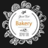 Schizzo dell'illustrazione di vettore - forno il croissant, panini, soffia Immagini Stock Libere da Diritti