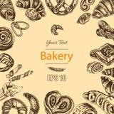 Schizzo dell'illustrazione di vettore - forno il croissant, panini, soffia Fotografie Stock Libere da Diritti