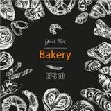 Schizzo dell'illustrazione di vettore - forno il croissant, panini, soffia Immagine Stock Libera da Diritti