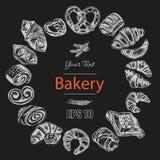 Schizzo dell'illustrazione di vettore - forno il croissant, panini, soffia Fotografia Stock