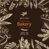 Schizzo dell'illustrazione di vettore - forno pagnotta, baguette, pane Immagine Stock
