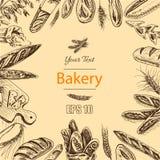 Schizzo dell'illustrazione di vettore - forno pagnotta, baguette, pane Immagini Stock Libere da Diritti