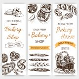 Schizzo dell'illustrazione di vettore - forno pagnotta, baguette, pane Forno francese Schizzo dell'illustrazione di vettore - for Fotografia Stock Libera da Diritti