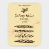 Schizzo dell'illustrazione di vettore - forno pane, pagnotta, baguette Immagini Stock Libere da Diritti