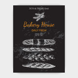 Schizzo dell'illustrazione di vettore - forno pane, pagnotta, baguette Immagini Stock