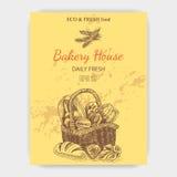 Schizzo dell'illustrazione di vettore - forno pane, pagnotta, baguette Fotografie Stock