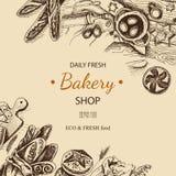 Schizzo dell'illustrazione di vettore - forno pane, pagnotta, baguette Casa del forno della carta Fotografie Stock Libere da Diritti
