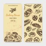 Schizzo dell'illustrazione di vettore pane, pagnotta, baguette Casa del forno della carta Immagini Stock
