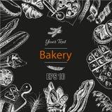 Schizzo dell'illustrazione di vettore pane, pagnotta, baguette, focaccia, pizza Immagine Stock Libera da Diritti