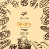 Schizzo dell'illustrazione di vettore pane, pagnotta, baguette, focaccia, pizza Fotografia Stock
