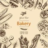 Schizzo dell'illustrazione di vettore pane, pagnotta, baguette, focaccia, pizza Immagini Stock