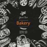 Schizzo dell'illustrazione di vettore pane, pagnotta, baguette, focaccia, pizza Immagini Stock Libere da Diritti