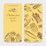 Schizzo dell'illustrazione di vettore pane, pagnotta, baguette, focaccia, pizza casa italiana del forno Fotografia Stock