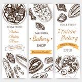 Schizzo dell'illustrazione di vettore pane, pagnotta, baguette, focaccia, pizza casa italiana del forno Immagini Stock